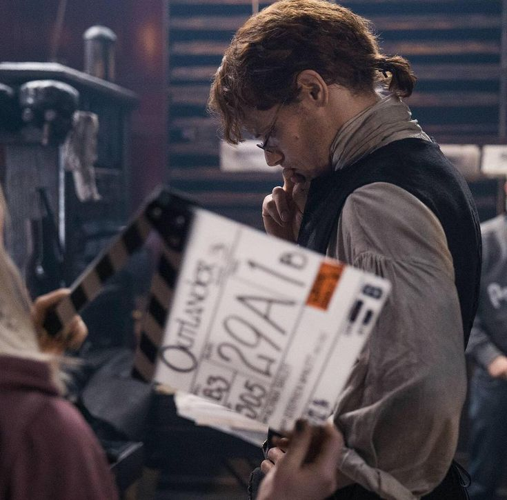 "BTS Still of Sam Heughan in Outlander 3×06 ""A. Malcolm"" 