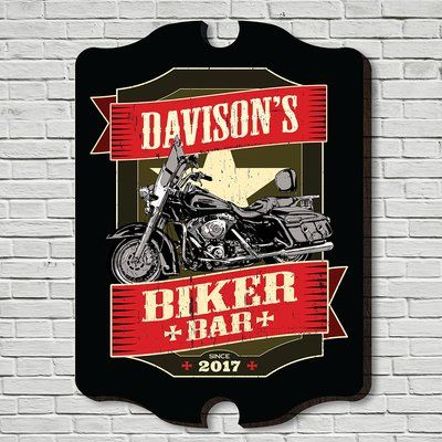 Home Wet Bar Biker Bar Custom Sign Wall Décor Size: Medium