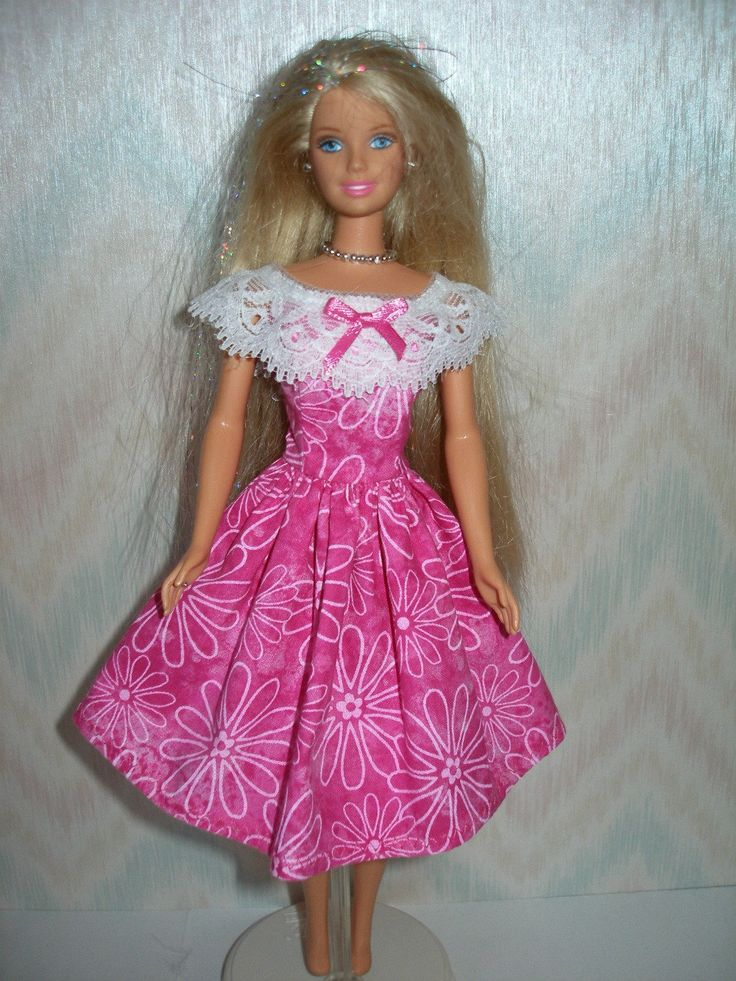 Handmade Barbie doll clothes - pink and white dress