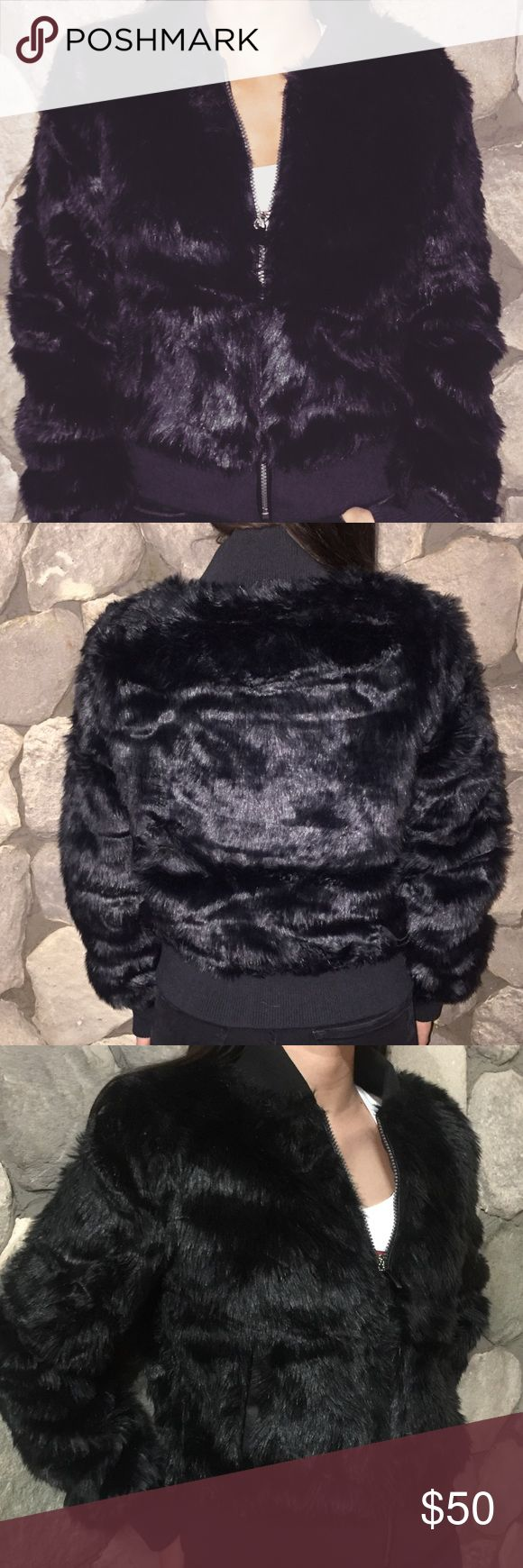 Black faux fur jacket Make a statement with this beautiful black faux fur jacket. Please use the offer tool. No trades. Jackets & Coats