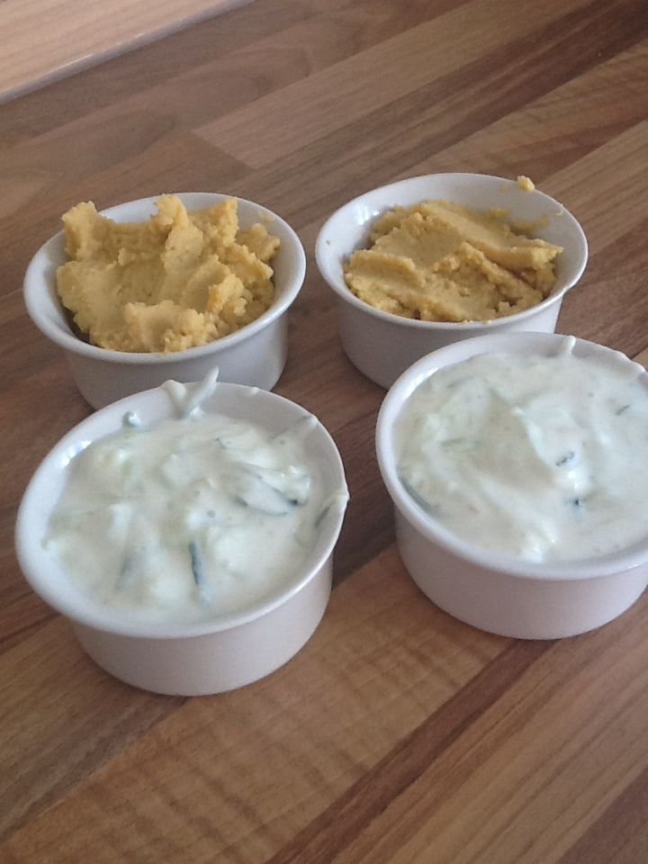 Slimming world dips. Sync free. Party dips.  Hummus- tin of chickpeas, chopped up garlic, small amount of water and optional extras such as pepper/lemon. (All blended together). Tzatziki dip- pot of fat free Greek yogurt, lemon juice, chopped garlic and cucumber grated. (All mixed together and placed in fridge)