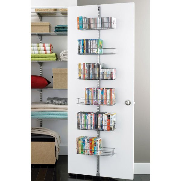 The Container Store > Platinum elfa Door & Wall Rack Media System Components. Organize for a gift wrapping station