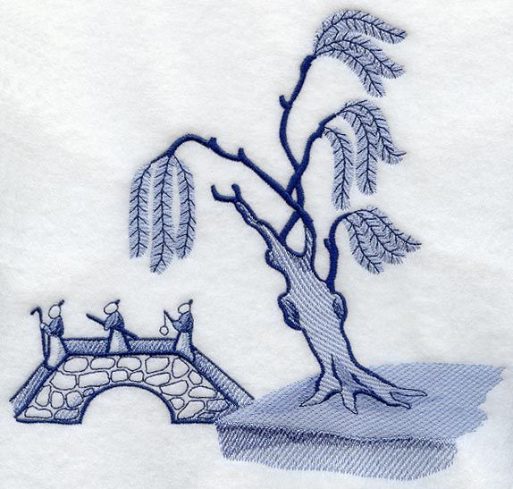 Blue Willow - Tree and Bridge design (C2814) from www.Emblibrary.com