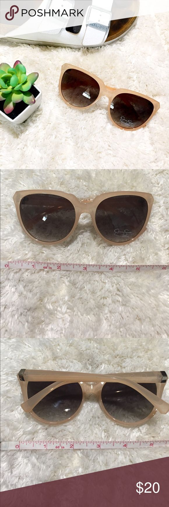 NWOT Jessica Simpson Sunglasses Brand new Jessica Simpson sunglasses with very lightweight plastic frames in a pale pink. Slightly oversized, silver details. 100% UV absorptive. Jessica Simpson Accessories Sunglasses