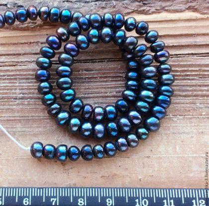 Жемчуг 6,5 мм 10 шт рондель черный натуральный бусины для украшений. Handmade.