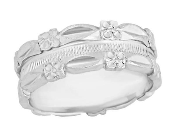 1950 S Pansy Flowers Vintage Design Wedding Band In 14 Karat White Gold 7mm Wide Wedding Rings Vintage Wide Band Wedding Ring Affordable Wedding Bands