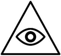 O olho que tudo vê, também conhecido como o olho da providência, é muitas vezes representado dentro de um triângulo e significa conhecimento espiritual ou onisciência. Ele também pode fazer parte do Hamsá, ou Mão de Fátima, que é um símbolo da fé islâmica em formato de mão onde o olho que tudo vê pode estar no seu centro.    Algumas fontes relacionam o Olho que tudo vê ao Olho de Hórus.  Illuminati  Esse é o símbolo illuminati mais conhecido e que se refere à autoridade dentro desse grupo…