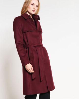 Palton stofa dama elegant rosu burgundy