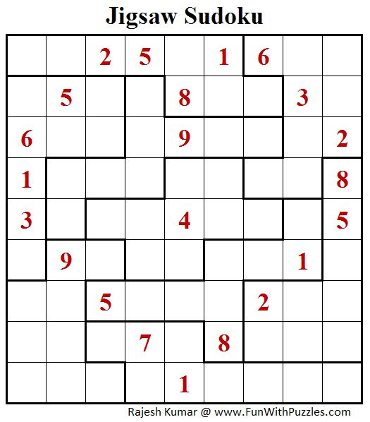 Jigsaw Sudoku  (Daily Sudoku League #187)