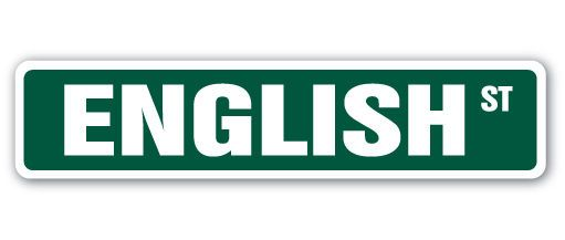 ENGLISH Street Sign teacher professor college school retirement gift high middle
