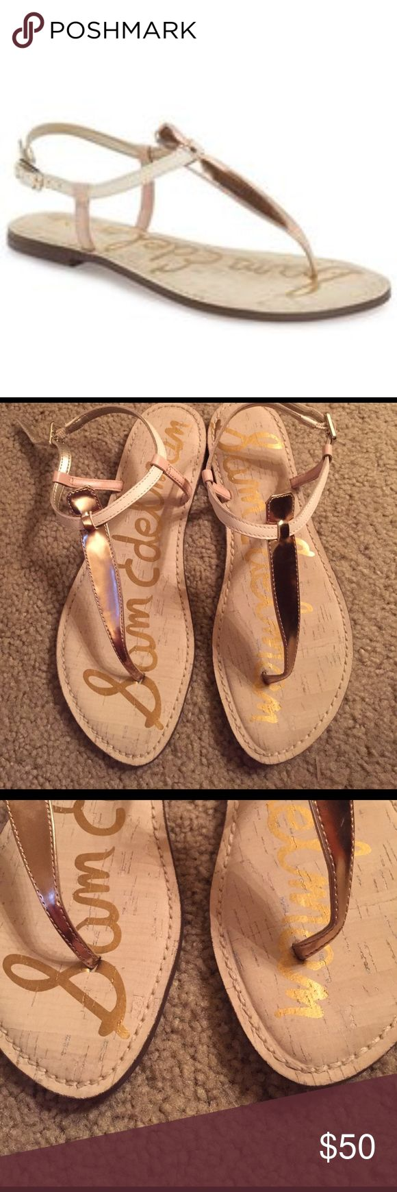 Sam Edelman Gigi size 8.5 Seashell with light pink. Worn once. Very comfortable Sam Edelman Shoes Sandals