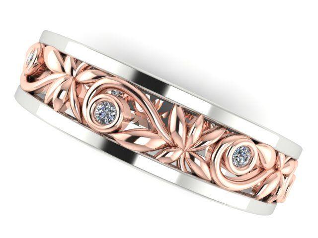 Spectacular Rose and White Custom made Wedding Eternity Band Handmade filigree ring Her ring