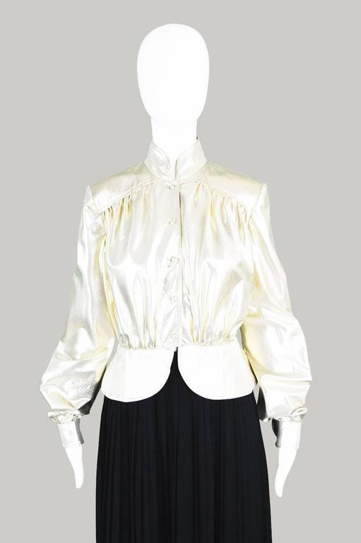 Yuki of London Metallic Pale Gold Lamé Jacket, 1970s
