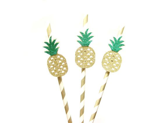25 Gold Stripe Paper Straws with Glitter Pineapple - Pineapple straws, tropical straws, wedding, engagement, birthday, pineapple party