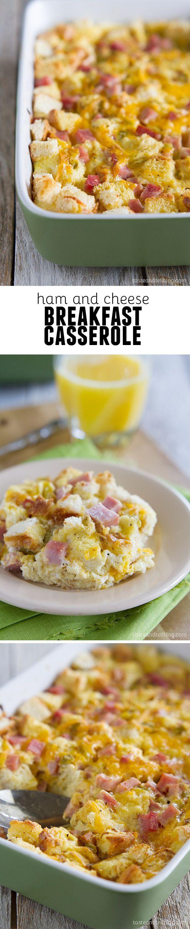 Ham and Cheese Breakfast Casserole - an easy make ahead breakfast recipe!