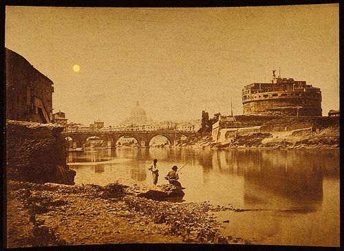 Castle and Bridge St. Angelo and the Tibre. Rome 1880s Albumen print, hand-coloured