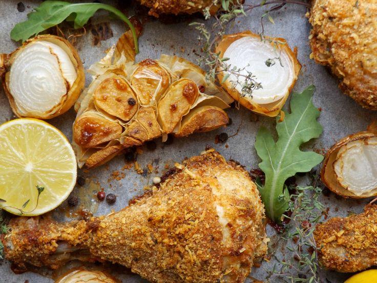 Ψητό κοτόπουλο με τραγανή κρούστα παρμεζάνας