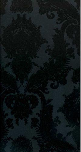 Pattern: Flock-7025 | Name: Kelly Deco Velvet Flocked Wallpapers | Category: Black on Black Flock Velvet | DesignerWallcoverings.com  Specialty Wallpaper & Designer Wallcoverings for Home and Office.