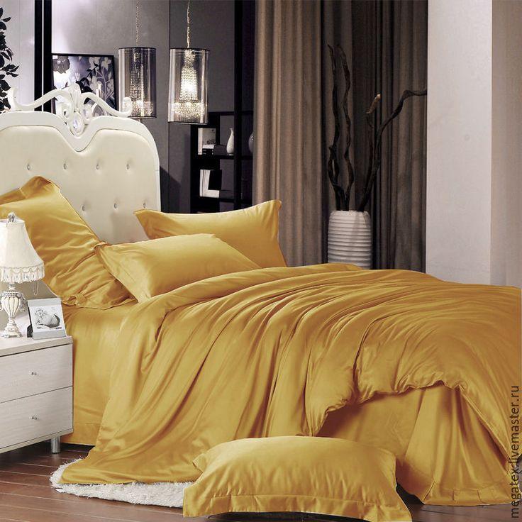 Купить Премиум-сатин гладкий (цвет медовый) - хлопок, ткани для постельного, для постельного, для постельного белья