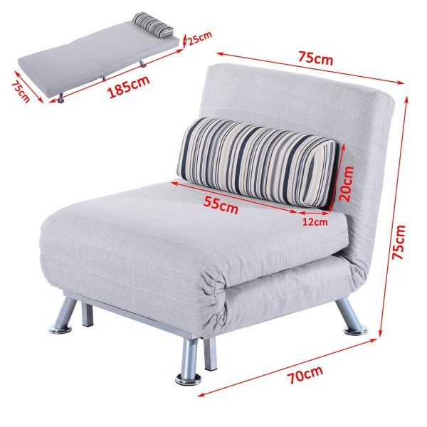 Homcom Single Folding Chair Bed Grey Foldable Futon Sofa Bed For 1 Person Sleeper Portable Pillow Lounge Couch Furniture Aosom Uk In 2020 Single Sofa Bed Couch Furniture Single Sofa