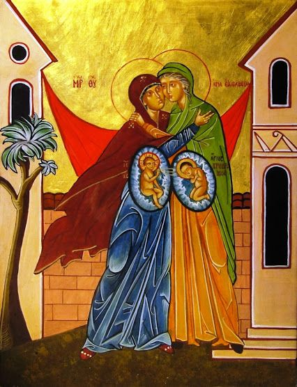 The Visitation of Mary icon, showing Jesus in the Blessed Mother's womb, and John the Baptist in Elizabeth's womb. Luke 1:39-45