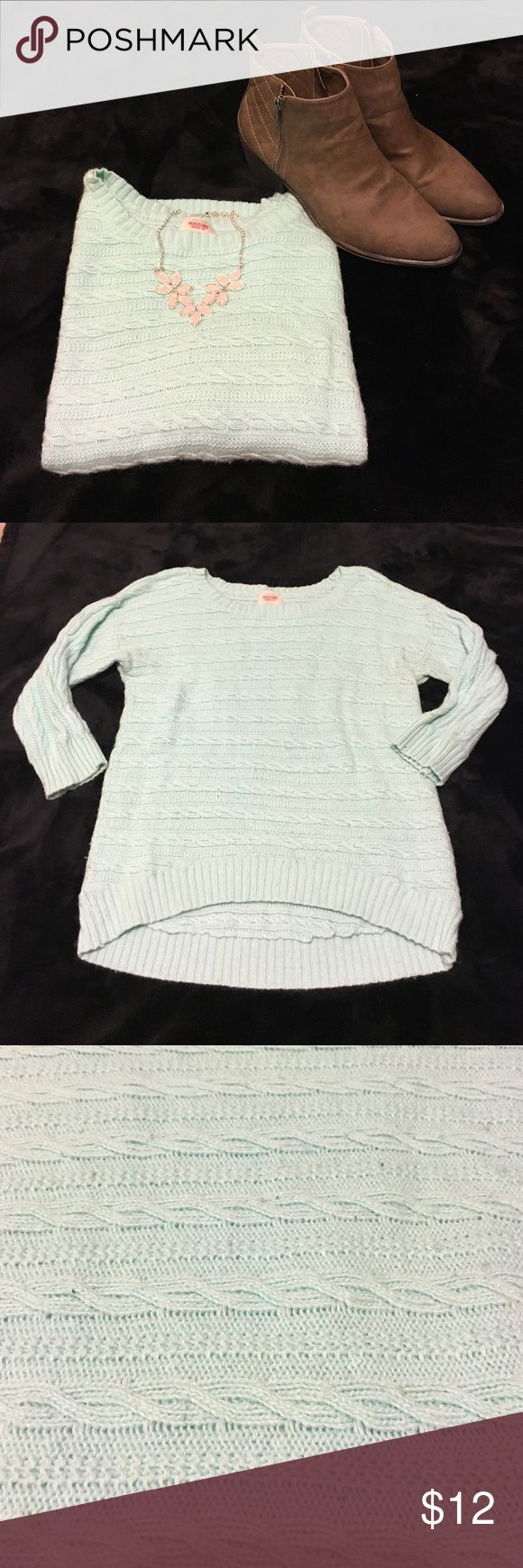 Light aqua crew neck sweater Super cute light aqua crew neck sweater. Bottom has a slight high low look! Mossimo Supply Co. Sweaters Crew & Scoop Necks