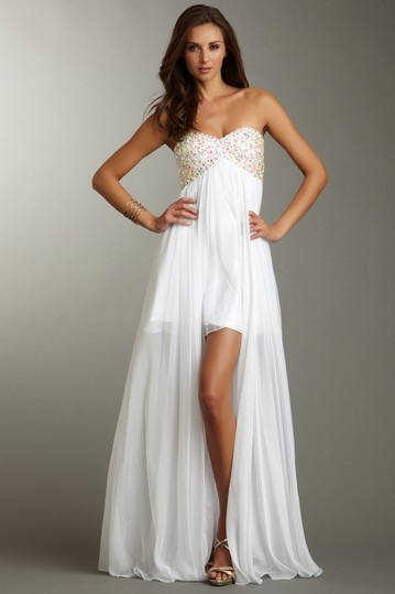 La Femme Strapless Beaded Hi-Lo Gown. This would be fantastic if you wanted a different dress for your wedding reception!