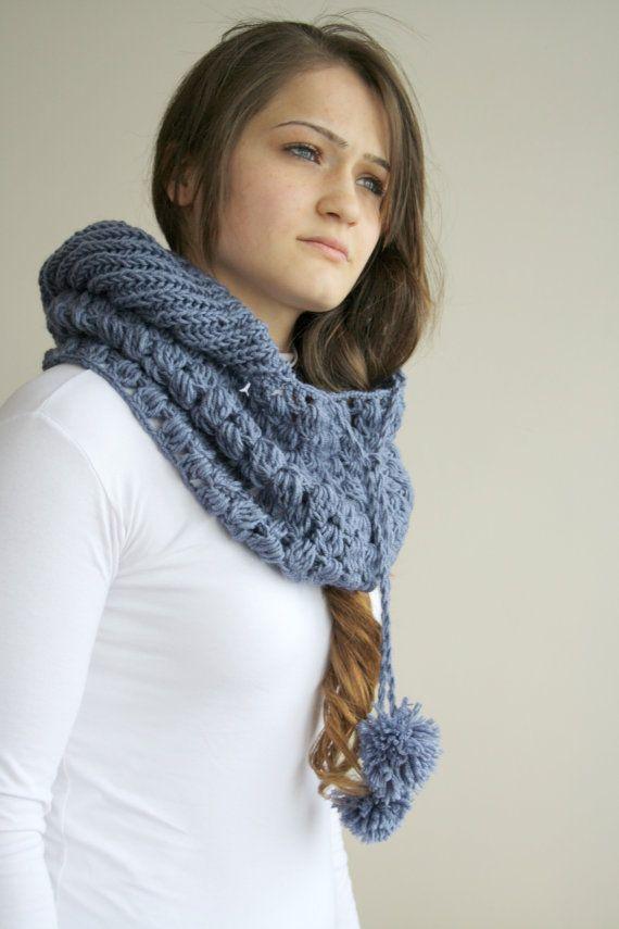 Indigo azul lana con capucha grueso infinito lazo bufanda