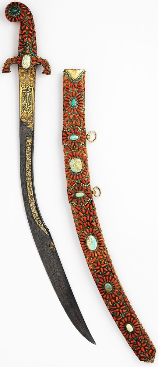 Ottoman Kilij, 18th century, steel, wood, turquoise, coral, emerald, gold, L. 35 1/2 in. (90.2 cm), Met Museum.