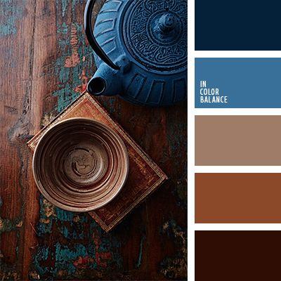 azul medianoche, azul oscuro y marrón, azul turquí, color arcilla cocida, color azul oscuro verdoso, color cerúleo oscuro, color chocolate, color ocre, color rojo arcilla, colores de la cerámica azul, marrón rojizo, marrón y azul oscuro, matices del azul oscuro, tonos marrones.