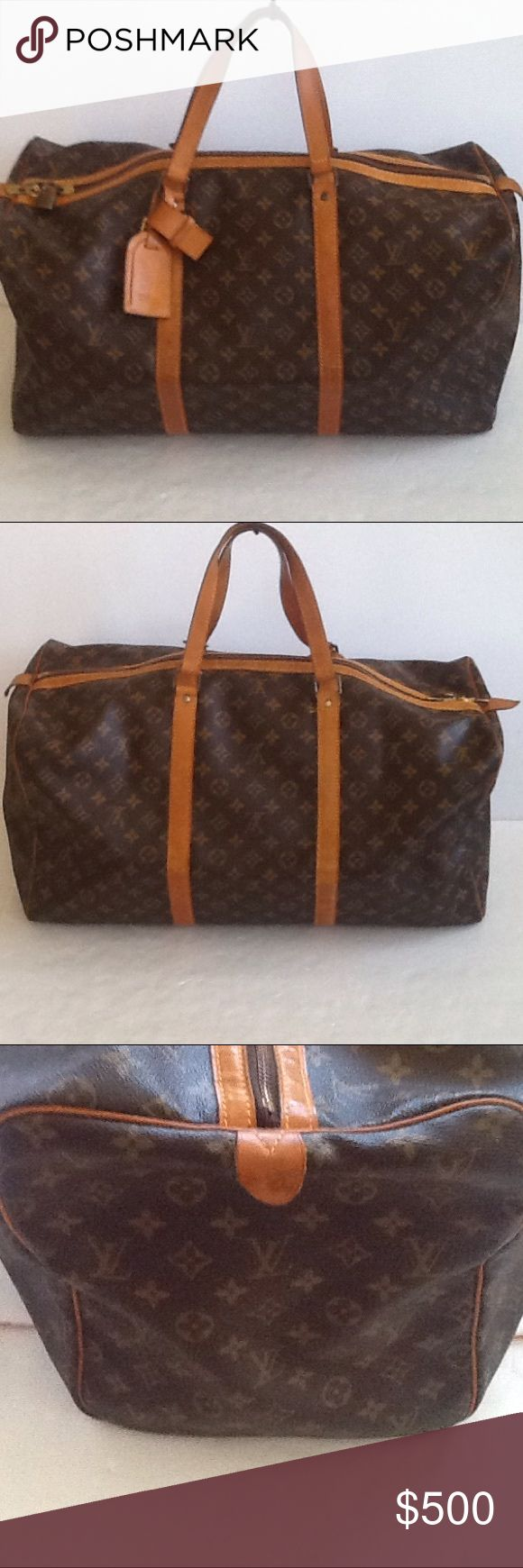 Authentic Louis Vuitton Duffle 55 Monogram Bag. The straps and leather showed signs of used. The canvas and inside linen are good. The dimension is 22, 10 and 11. The bad was made in France and no date code as it was made before 1980. Louis Vuitton Bags Travel Bags