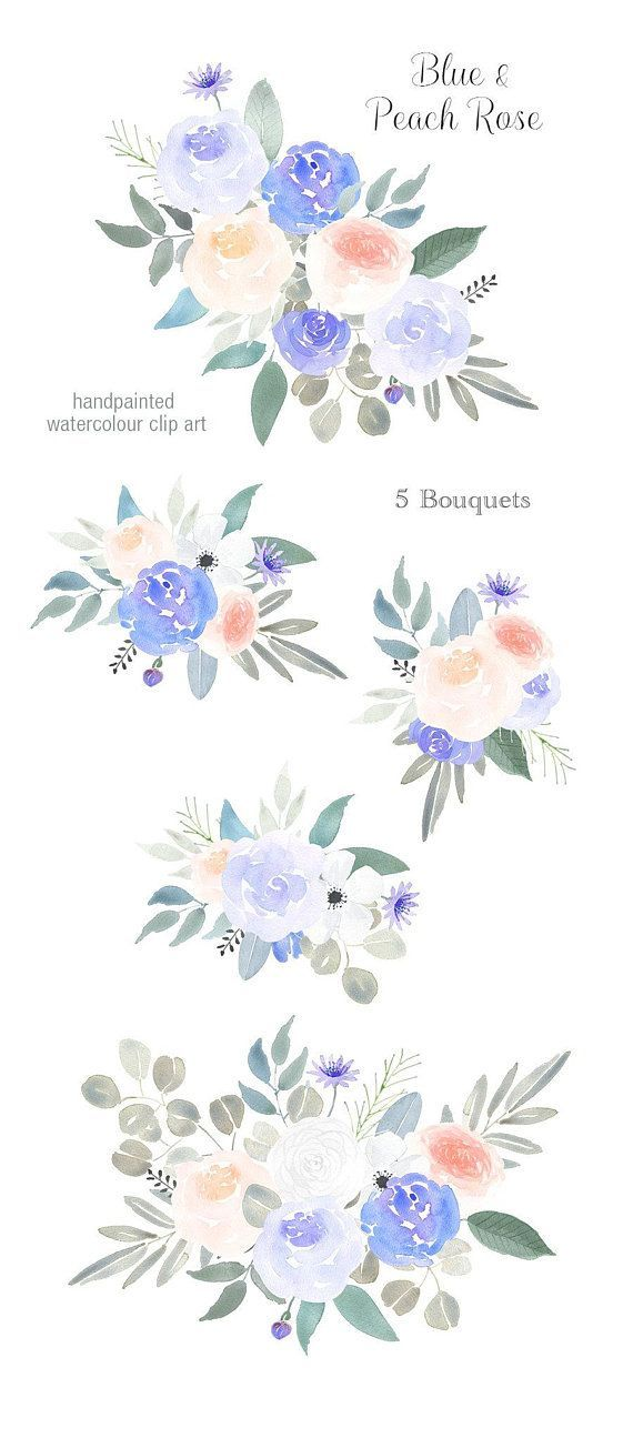 Watercolor Floral Clipart Bouquets Peach Pink Blue Roses Png