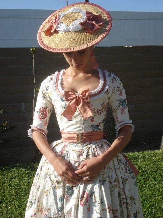 Beautiful,floral Georgian dress and hat.