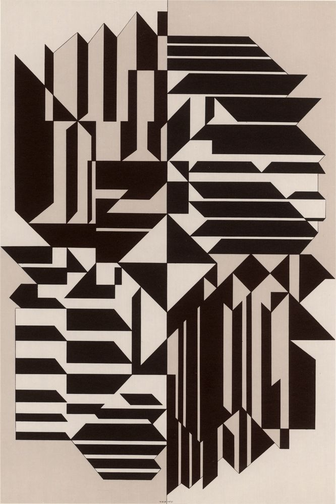 Geminorum 1956-1959. Victor Vasarely was a Hungarian–French artist whose work is generally seen as aligned with Op-art. His work entitled Zebra, created in the 1930s, is considered by some to be one of the earliest examples of Op-art. Vasarely died in Paris in 1997.