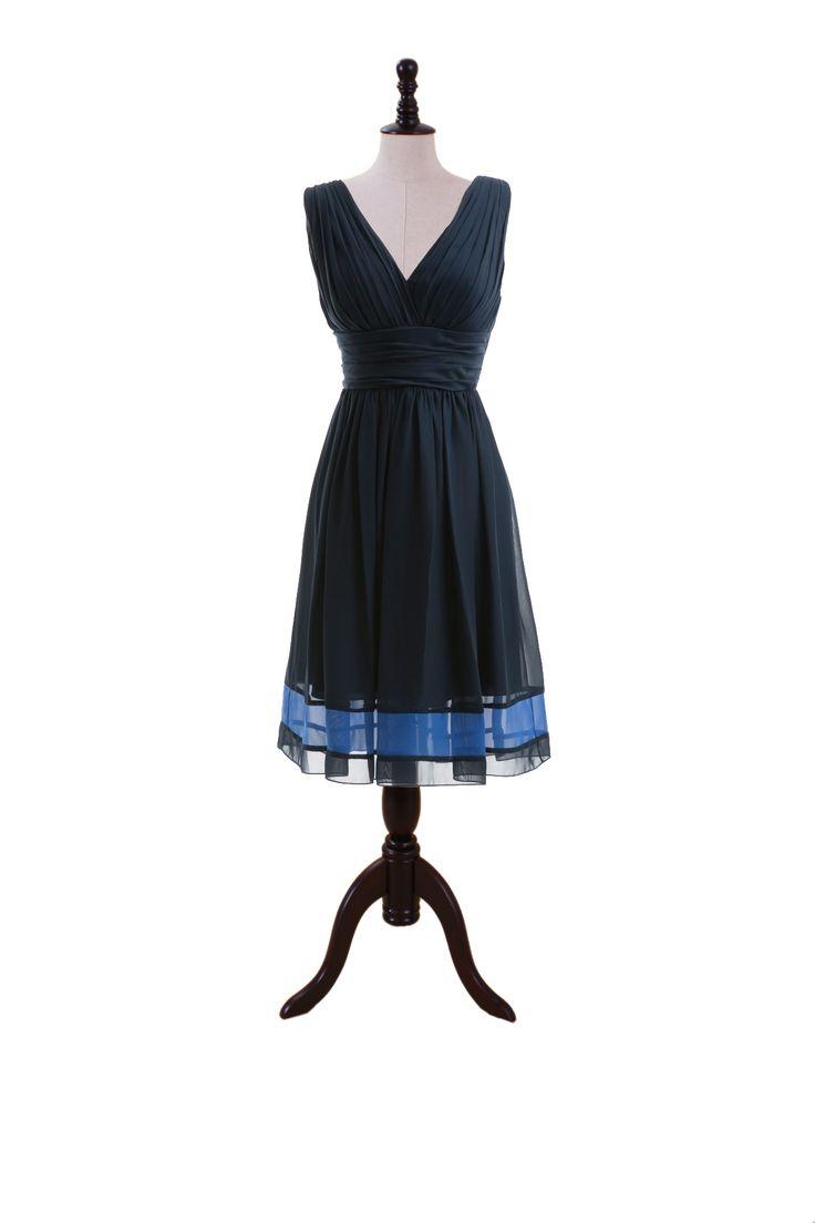 Two-Tone V-Neck Chiffon Dress with Skirt Band