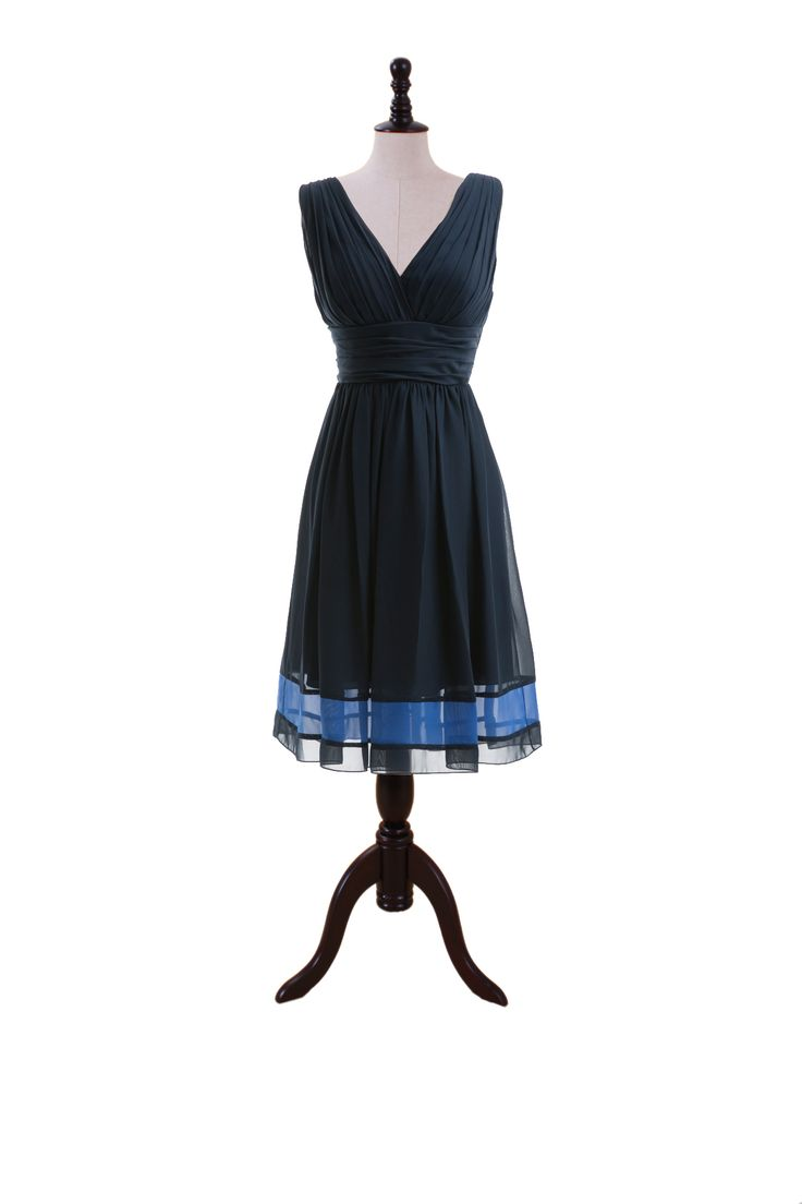 Two-Tone V-Neck Chiffon Dress with Skirt Band
