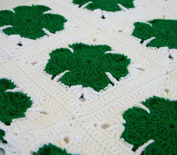 Green Crochet Afghan Pattern : Shamrock afghan green white crocheted throw handmade ...