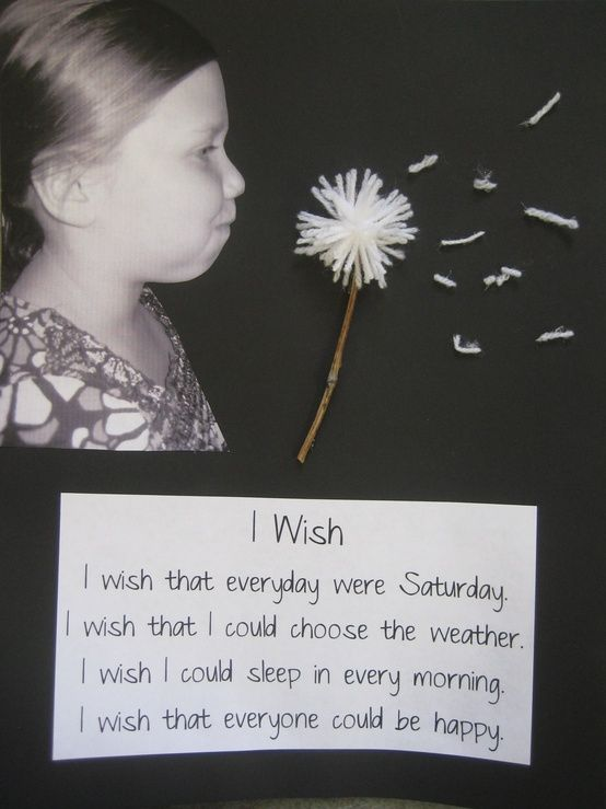 "cute ""i wish"" writing activity. Take photos of children pretending to blow dandelion, then use art project of yarn and sticks for actual dandelion. so cute for preschoolers :) spring bulletin board"