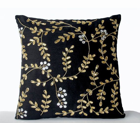 Black Couch Pillows Black Accent Pillow Black Gold by AmoreBeaute