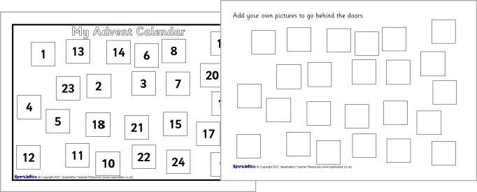 Advent Calendar Design Your Own : Make your own a sized advent calendar sparklebox free