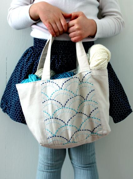 Molly's Sketchbook: Sashiko Mini Tote (or Apron)Kit - Knitting Crochet Sewing Crafts Patterns and Ideas! - the purl bee