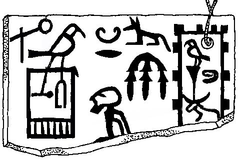 "Ivory label bearing the serekh of Hor-Aha. It reports the victory over the ""arch-using setjet-folks"" (center) and the visit at the domain ""Horus thrives with the cattles"" (right).  Ivory label bearing the serekh of Hor-Aha. It reports the victory over the ""arch-using setjet-folks"" (center) and the visit at the domain ""Horus thrives with the cattles"" (right)."