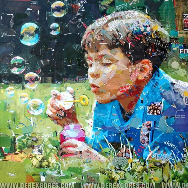 .Collage Artwork, Derek Gore, Magazines Art, Recycle Crafts, Collageart, Recycle Magazines, Blowing Bubbles, Nature Beautiful, Recycle Art