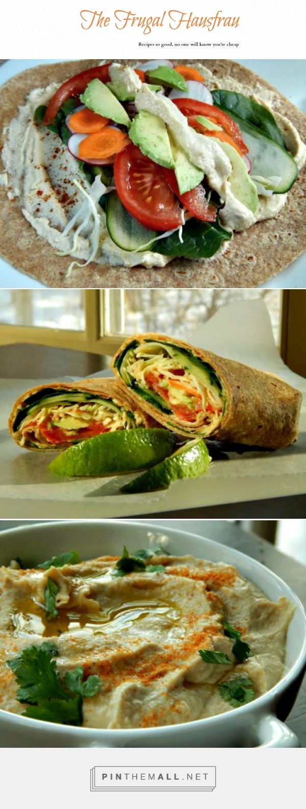 Make Your Own Hummus & Vegetarian Wraps - All the tips and tricks for the BEST hummus and how to construct a great wrap that will hold up till lunch! http://frugalhausfrau.com/2015/02/13/make-your-own-hummus-vegetarian-wraps/