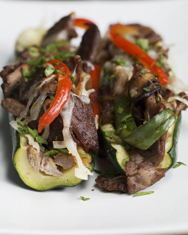 Steak And Veggie Zucchini Boats