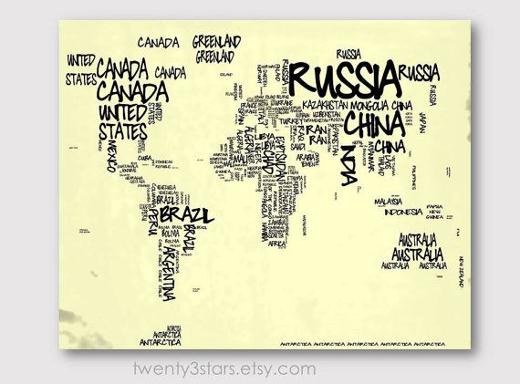 World Map Typography Map 8x10 Print, Choose Your colors, Typographic Atlas Art with Country Names word art shown in black and ivory