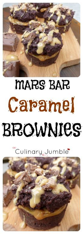 Individual Mars brownies topped with caramel and dolloped with frosting. These are the best brownies I have EVER eaten!