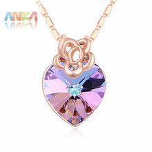 Necklace Women Direct Selling Special Offer Trendy 2016 Rose Crystal Necklaces Crystals from SWAROVSKI #107259