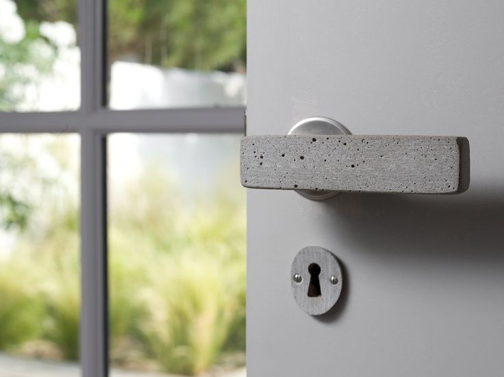 Specially commissioned Bauhaus lever in pumice with matching escutcheon - Haute Deco, London