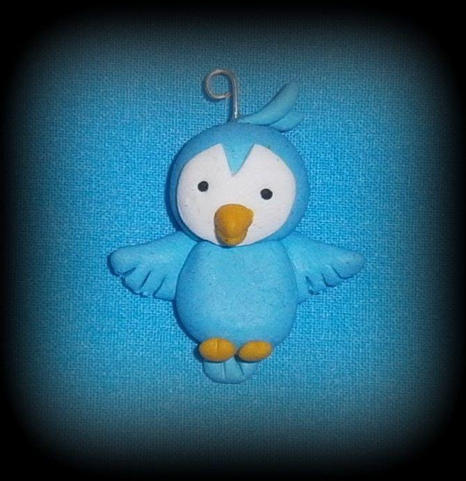 Fimo, Uccellino, disponibile come collana